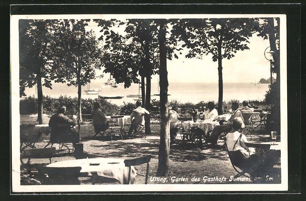 AK Utting, Garten des Gasthofs Summer am See 0