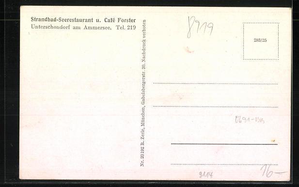 AK Unterschondorf a. Ammersee, Sommerleben im Strandbad-Seerestaurant u. Café Forster 1