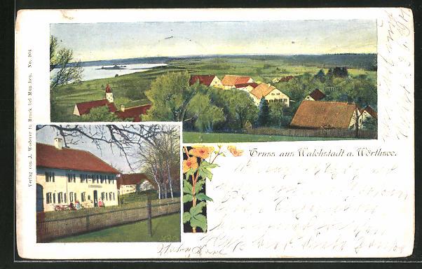 AK Walchstadt a. Wörthsee, Totalansicht, Ortspartie mit Landhaus 0