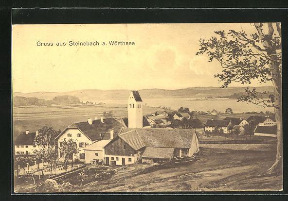 AK Steinebach a. Wörthsee, Ortsansicht mit Kirche 0