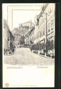 AK Blankenburg i. Harz, Blick in die Tränkestrasse mit Cafés, Serie 49 Harz-Zahnrad-Bahn Karte No. 5