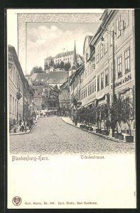 AK Blankenburg i. Harz, Blick in die Tränkestrasse mit Geschäften, Serie 39 Harz-Zahnrad-Bahn Karte No. 5