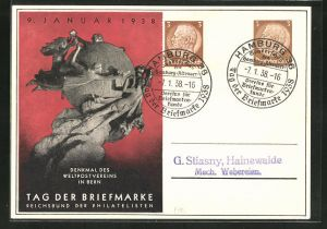 AK Bern, Ausstellung Tag der Briefmarke 1938, Denkmal des Weltpostvereins, Ganzsache