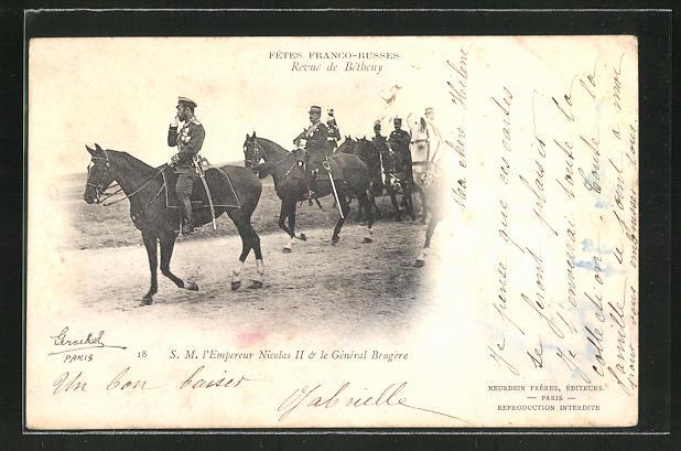 AK Zar Nikolaus II. von Russland in Uniform zu Pferde