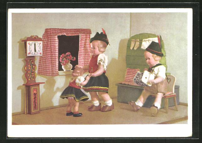AK Käthe Kruse-Puppen in bayr. Tracht tanzen u. musizieren gemeinsam