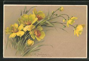 Künstler-AK Catharina Klein: gelbe Blumen mit Blattwerk