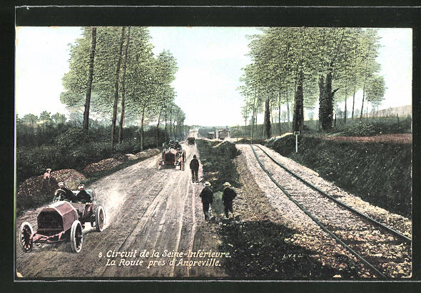 AK Circuit de la Seine-Inferieure, La Route pres d'Angreville, Autorennen