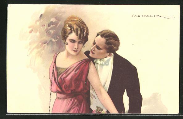 Künstler-AK Tito Corbella: Mann blick seiner Frau über die Schulter