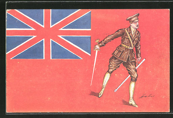 Künstler-AK Xavier Sager: Englischer Soldat in Uniform mit gezogenem Degen