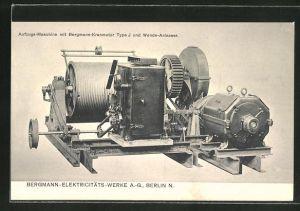 AK Berlin, Bergmann-Elektricitäts-Werke AG, Aufzugs-Maschine mit Bergmann-Kranmotor Type J