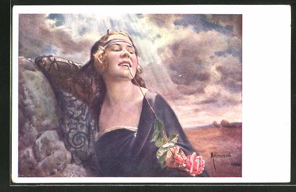 Künstler-AK Manasse: Schönheit mit Rose im Mund