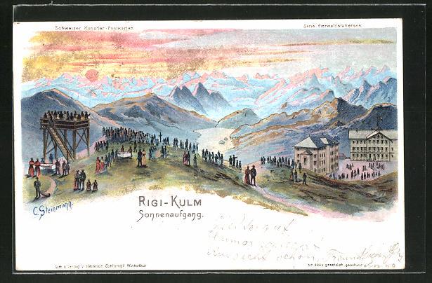Künstler-AK C. Steinmann: Sonnenaufgang vom Rigi-Kulm gesehen