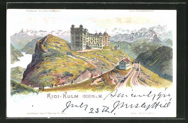 Künstler-AK C. Steinmann: Rigi-Kulm, Hotel und Station der Bergbahn