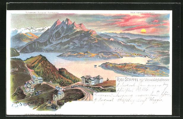 Künstler-AK C. Steinmann: Rigi-Staffel, Panorama mit Vierwaldstättersee