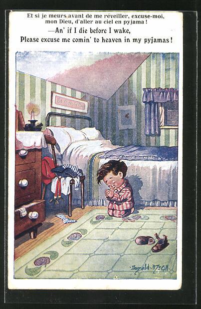 Künstler-AK Donald McGill: An' if I die before I wake..., betender Bub