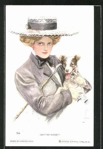 Künstler-AK Harrison Fisher: Isn't he sweet, junge Dame mit Hund
