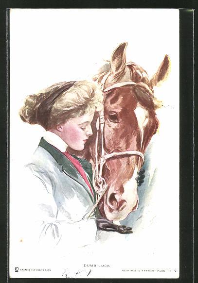 Künstler-AK Harrison Fisher: Dumb Luck, junge Dame gibt Pferd Zucker