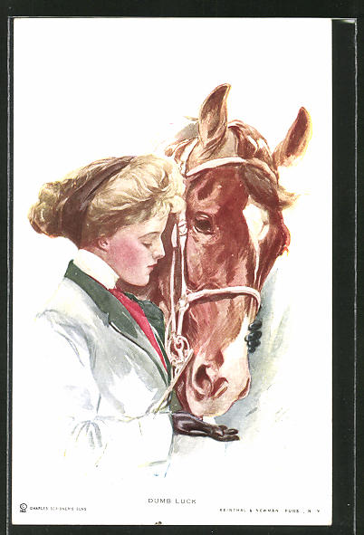 Künstler-AK Harrison Fisher: Dumb Luck, Fräulein und Pferd