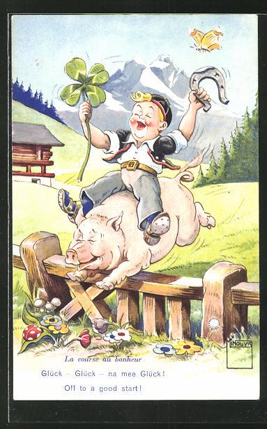 Künstler-AK Paul Minouvis: Glück - Glück - na mee Glück!, lustiger Kerl reitet auf Schwein
