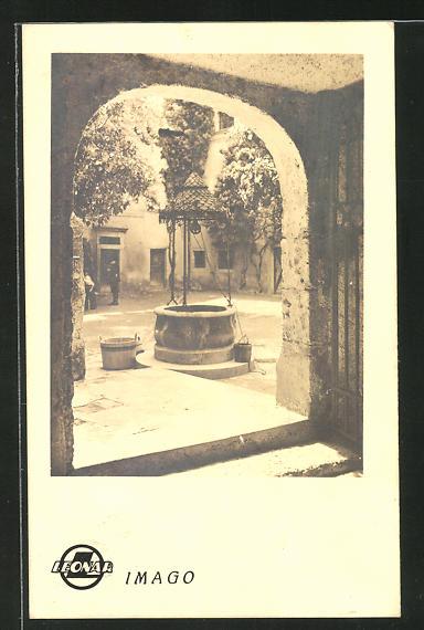 AK Leonar-Werke Wandsbek, Imago, Motiv mit Brunnen