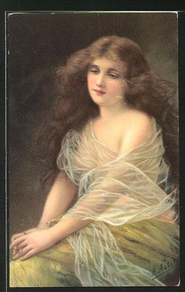 Künstler-AK Angelo Asti: Maid mit wallendem Haar
