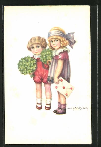 Künstler-AK A. Bertiglia: kleine Gratulantinnen