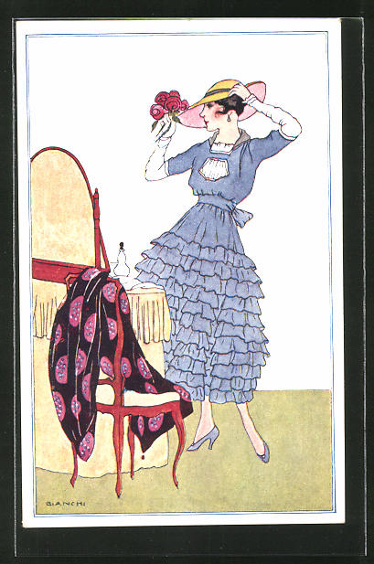Künstler-AK Bianchi: Dame mit Hut vor Spiegel
