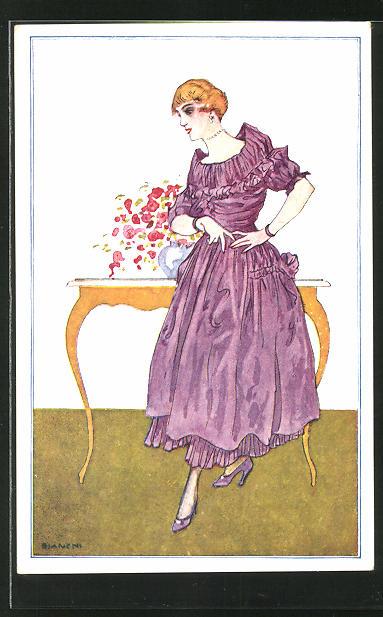 Künstler-AK Bianchi: elegante Dame in Kleid