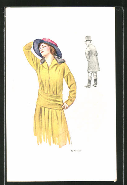 Künstler-AK Bianchi: Dame in gelb mit Hut