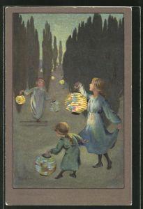 Künstler-AK S. Barham: Kinder mit Lampions