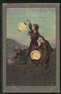 Künstler-AK S. Barham: Mädchen mit Lampions