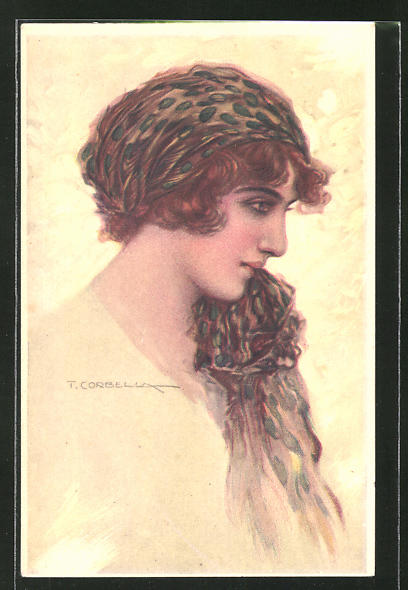 Künstler-AK Tito Corbella: Profilportrait junge Frau mit Kopftuch