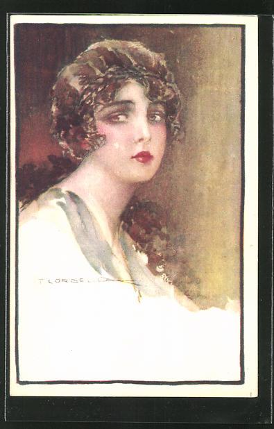 Künstler-AK Tito Corbella: junge Dame mit roten Lippen