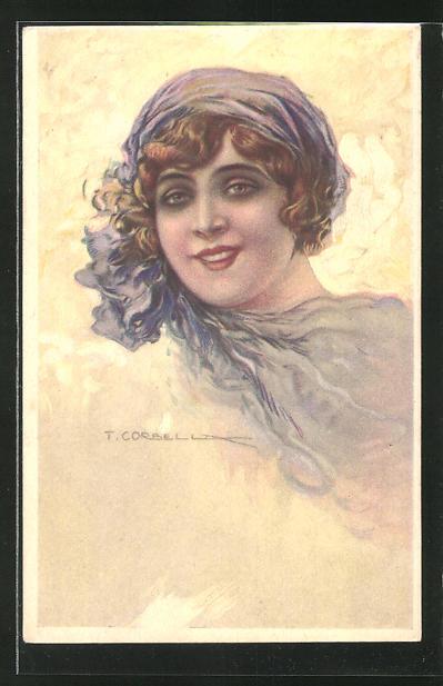 Künstler-AK Tito Corbella: Maid mit blauem Kopftuch
