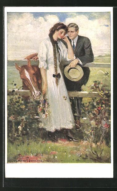 Künstler-AK Clarence F. Underwood: junges Paar mit Pferd
