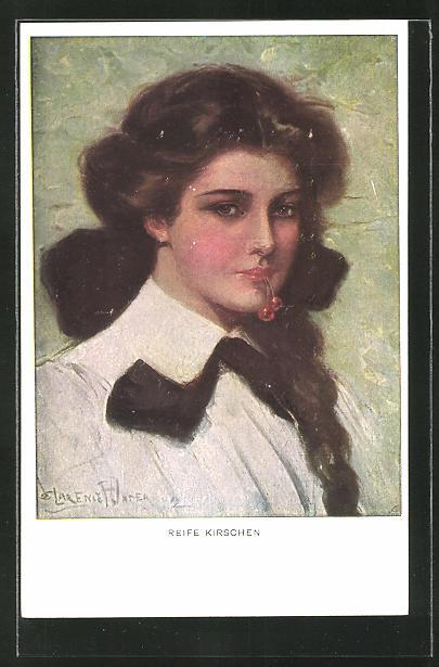 Künstler-AK Clarence F. Underwood: Reife Kirschen, brünette Maid