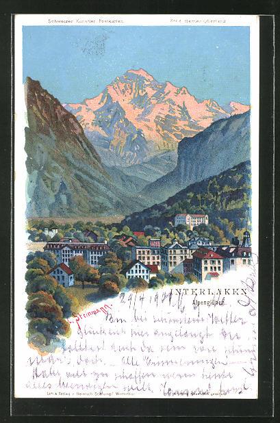 Künstler-Lithographie C. Steinmann: Interlaken, Alpenglühen