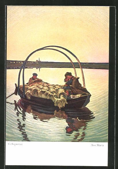 Künstler-AK Giovanni Segantini: Ave Maria, Boot voller Schafe