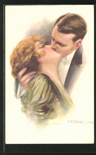 Künstler-AK Tito Corbella: elegantes Paar beim Kuss