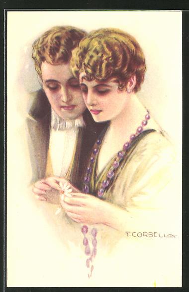 Künstler-AK Tito Corbella: elegantes Paar mit Blüte