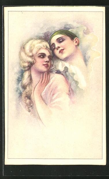 Künstler-AK Tito Corbella unsigniert: Pierrot und Barockschönheit
