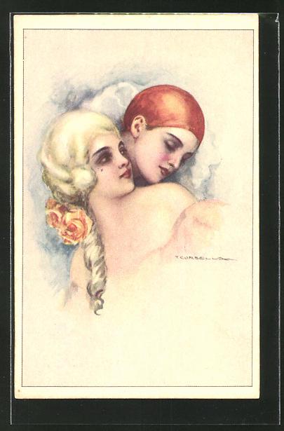 Künstler-AK Tito Corbella: Pierrot und Barockschönheit