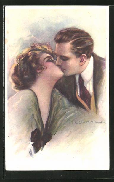 Künstler-AK Tito Corbella: Paar beim Kuss