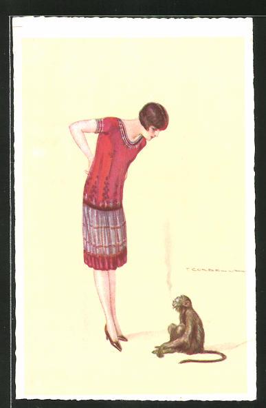Künstler-AK Tito Corbella: rauchender Affe und junge Dame