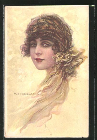 Künstler-AK Tito Corbella: junge Dame mit Kopftuch
