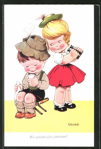 Künstler-AK sign. Vaube: Wir geniessen alles gemeinsam!, kleines Paar