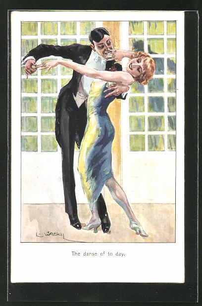 Künstler-AK Luis Usabal: The dance of the day, tanzendes Paar