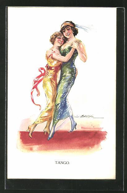 Künstler-AK Luis Usabal: Tango, miteinander tanzende Damen