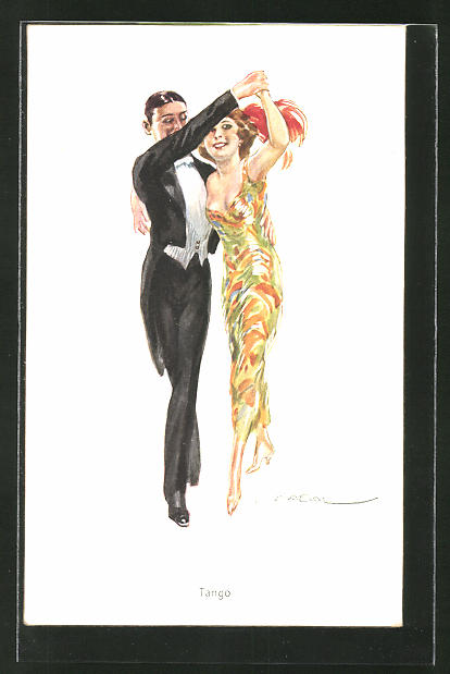 Künstler-AK Luis Usabal: Tango, Paar in Abendgarderobe