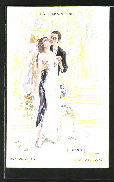 Künstler-AK Luis Usabal: Endlich allein!, elegantes Paar